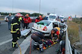 Bolu'da, TEM'de feci kaza: 2'si çocuk 13 yaralı