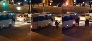 Bolu'da, taksisinin aynasını kıran kadını tekme tokat dövdü