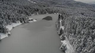 Gölcük Tabiat Parkı'nın masalsı manzarası havadan görüntülendi
