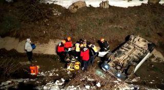 Bolu'da otomobil kanala uçarak takla attı: 1 yaralı